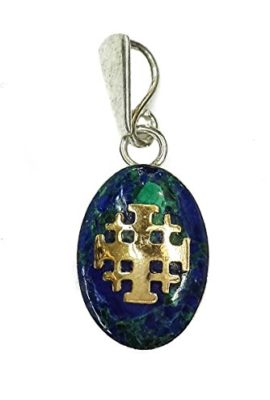 Unique-King-Solomon-Eilat-Stone-Silver-925-Pendant-Gold-14k-Jerusalem-Cross-1-0