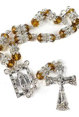 Car-Rearview-Mirror-Rosary-Dark-Yellow-Crystals-Beads-Zircons-Cross-Jerusalem-0