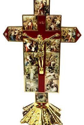Catholic-Golden-14-Station-Jesus-Cross-Statue-Enamel-INRI-Crucifix-Jerusalem-0