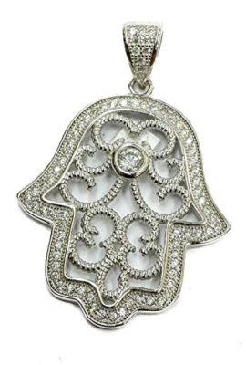 Delicate-Hamsa-Hand-Judaica-Charm-Silver-925-Pendant-Zircon-Crystals-Israel-16-0