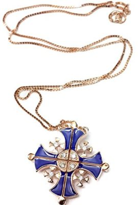 Gold-Plated-Opens-Jerusalem-Cross-Pendant-Necklace-Blue-Enamel-Swarovski-1-0