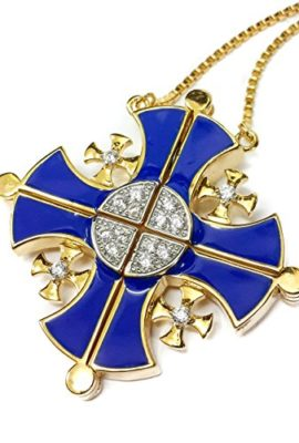 Gold-Plated-Opens-Jerusalem-Cross-Pendant-Necklace-Blue-Enamel-Swarovski-Stones-0