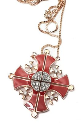 Gold-Silver-Plated-Opens-Jerusalem-Cross-Pendant-Necklace-Red-Enamel-Swarovski-0