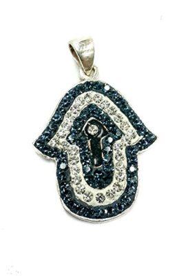Hamsa-Judaica-Silver-925-Pendant-White-Blue-Enamel-Zircons-Crystals-Israel-12-0