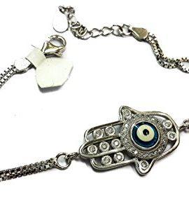 Handmade-925-Sterling-Silver-Hamsa-Evil-Eye-Bracelet-Cubic-Zirconia-Crystals-0