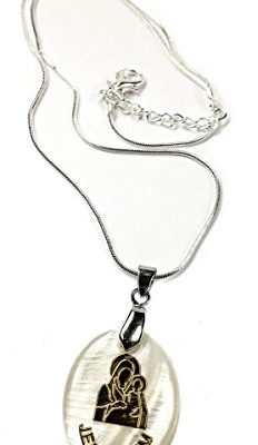 Holy-Virgin-Mary-Jerusalem-Baby-Jesus-Mother-Of-Pearl-Pendant-Silver-Necklace-0