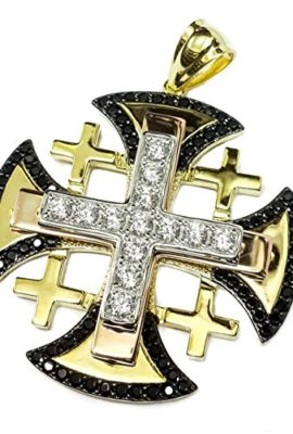 Jerusalem-Quality-Gold-Plated-Cross-Swarovski-Black-White-Crystals-Handmade-14-0-0
