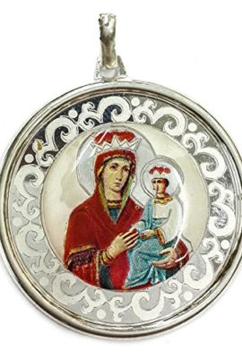 ROUND-RUSSIAN-VIRGIN-MARY-BABY-JESUS-SILVER-925-PENDANT-JERUSALEM-AMULET-18-0