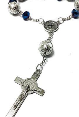 Saint-Benedict-Deep-Blue-Beads-Car-Rearview-Rosary-Catholic-NR-Medal-Jerusalem-0