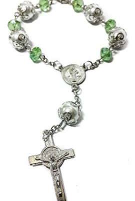 Saint-Benedict-Green-Glass-Beads-Car-Rearview-Rosary-Catholic-NR-Medal-Jerusalem-0