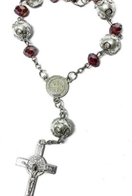 Saint-Benedict-Red-Glass-Beads-Car-Rearview-Rosary-Catholic-NR-Medal-Jerusalem-0