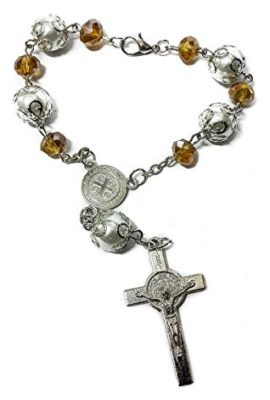 St-Benedict-Yellow-Glass-Beads-Car-Rearview-Rosary-Catholic-NR-Medal-Jerusalem-0