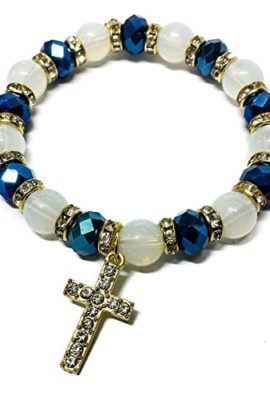 Stretchable-Golden-Bracelet-Deep-Blue-Crystal-Beads-Zircons-Cross-Jerusalem-0