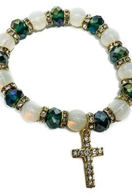 Stretchable-Golden-Bracelet-Green-Crystal-Beads-Zircons-Cross-Jerusalem-0