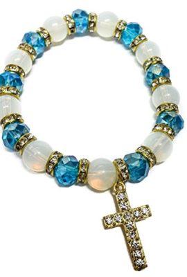 Stretchable-Golden-Bracelet-Light-Blue-Crystal-Beads-Zircons-Cross-Jerusalem-0