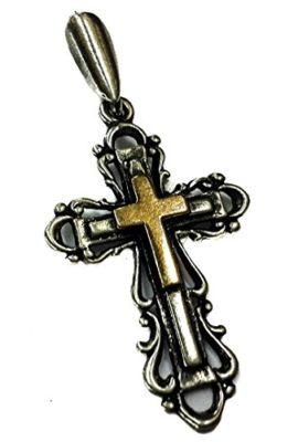 Unique-Catholic-Crucifix-Silver-925-with-14k-Gold-Cross-Pendant-Jerusalem-1-0
