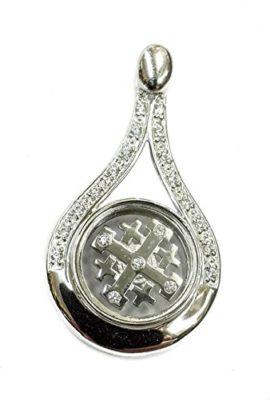 Unique-Rotating-Jerusalem-Cross-Pendant-Silver-925-Zircon-Crystals-Holy-Land-0