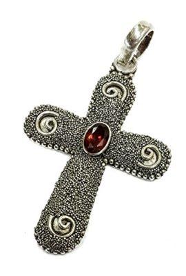 Unique-Sterling-Silver-925-Twist-Dots-Crucifix-Red-Garnet-Crystal-Jerusalem-18-0