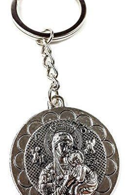 Virgin-Mary-Baby-jesus-Metal-Silver-Keychain-Catholic-Key-Ring-Jerusalem-Charm-0