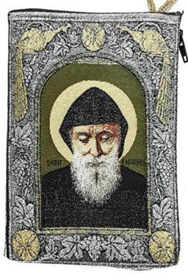 Saint-ST-Charbel-Makhluf-Rosary-Icon-Pouch-Tapestry-Prayer-Keepsake-Case-57-0