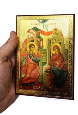 Annunciation-of-Blessed-Mary-Russian-Icon-Plaque-Blessed-Jerusalem-Souvenir-57-0