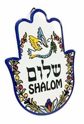 Ceramic-Shalom-Hamsa-Hand-Home-Peace-Blessing-Standing-Hanging-Plaque-Jerusalem-0