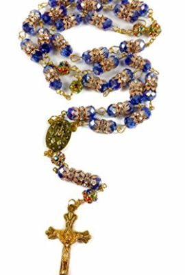 Gold-Plated-Blue-Colorful-Crystal-Beads-Rosary-Miraculous-Medal-Catholic-Cross-0