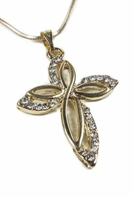 Gold-Plated-Womens-Cross-Zircon-Crystals-Crucifix-Jerusalem-Necklace-Gift-16-0