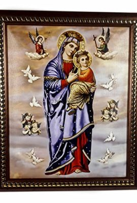 Mary-Madonna-Baby-Jesus-Heaven-Angels-Plaque-Padded-Wall-Hanging-Painting-114-0