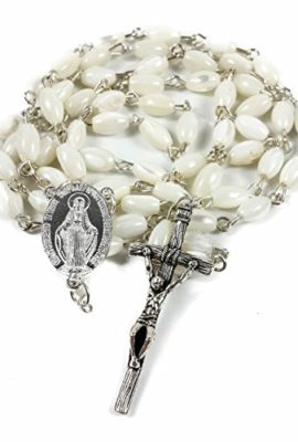 Mother-of-Pearl-Rosary-Miraculous-Medal-Jesus-Unique-Crucifix-Catholic-Necklace-0