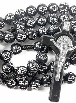 Saint-Benedict-Rosary-Catholic-NR-Medal-with-Black-Crosses-Beads-Prayer-Crucifix-0