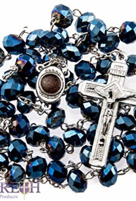 New-Catholic-Deep-Blue-Large-Crystal-Beads-Rosary-Holy-Soil-Medal-Jesus-Cross-0
