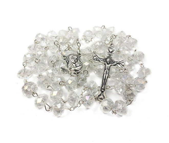White Zircon Crystals Beads Rosary