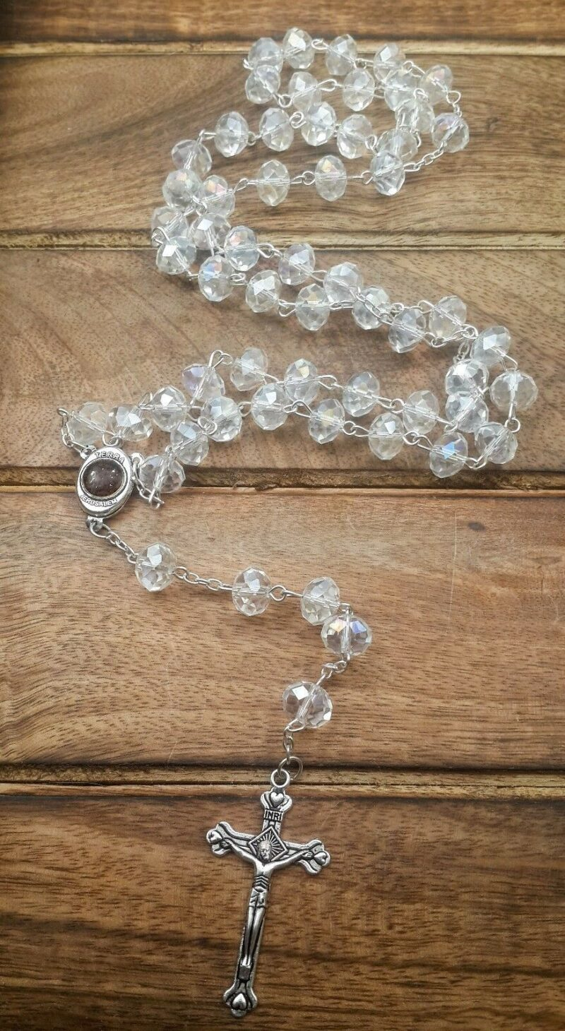 White Zircon Crystals Beads Rosary