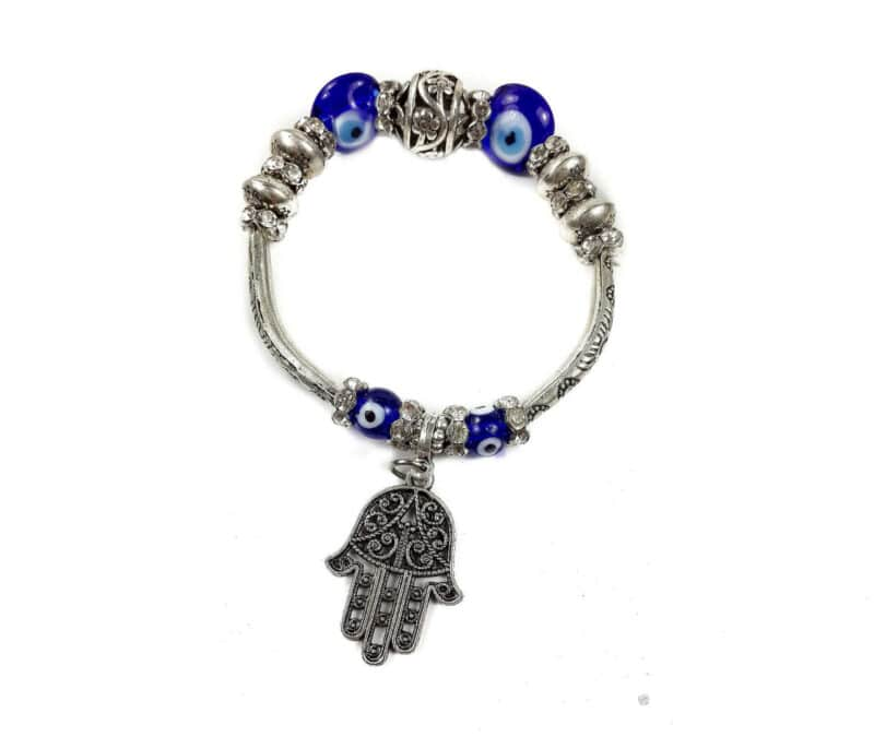Hamsa Hand Bracelet Blue Crystals