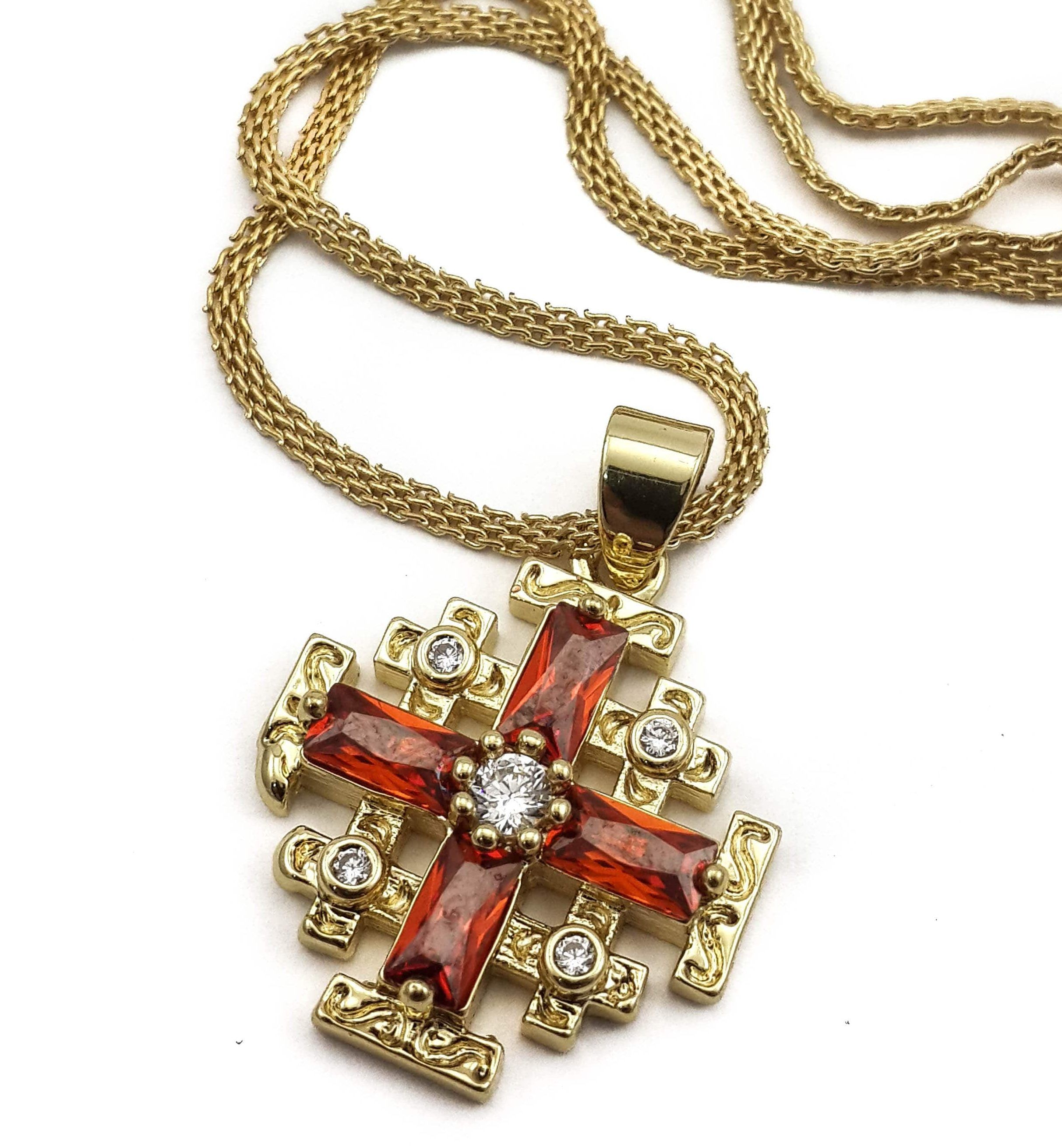 dp pendant cross claddagh yellow crusaders gold amazon jewelry jerusalem com