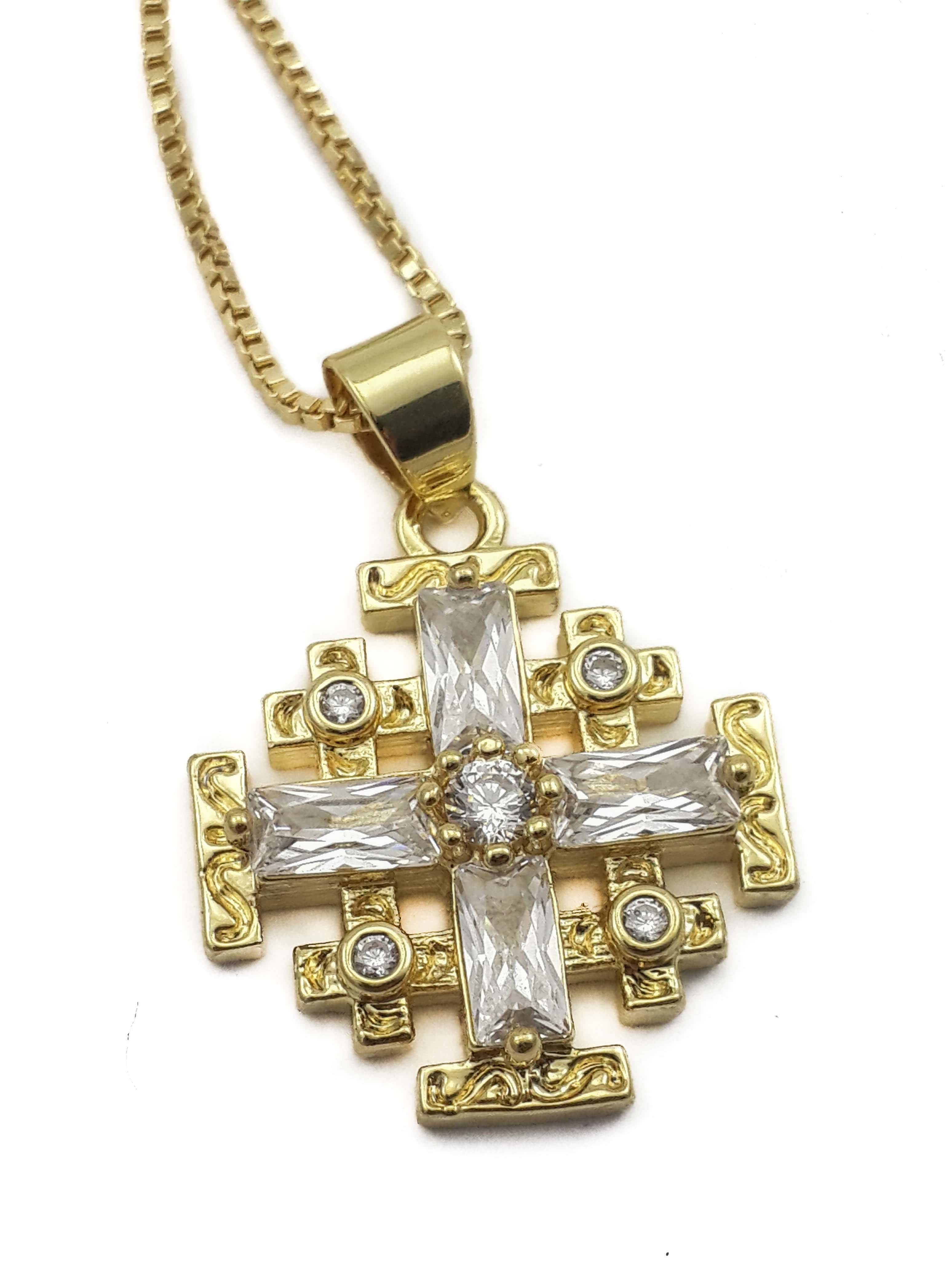 pendant necklace product quartz white cross gold clear min crystal with gem zircon natural jerusalem plated