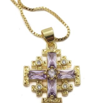 Christian pendants archives nazareth store holy land gift shop 18ct gold plated jerusalem cross pendant purple ruby necklace aloadofball Image collections