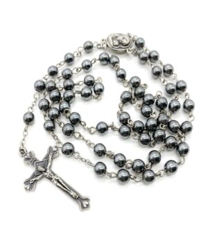 Hematite Rosary Black Stone Beads Catholic Necklace