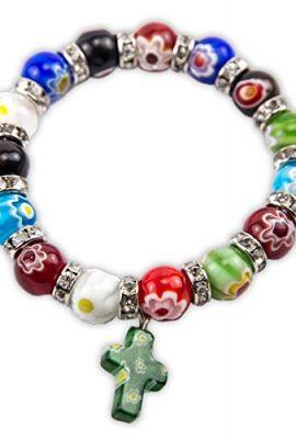 Agate-Colorful-Flowers-Beads-Stretchable-Bracelet-Zircons-Crystal-Cross-Jerusalem-0