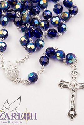 Catholic-Blue-Rosary-Crystal-Beads-Necklace-Holy-Mary-Crucifix-Jerusalem-0-0