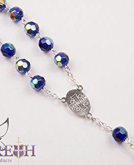Catholic-Blue-Rosary-Crystal-Beads-Necklace-Holy-Mary-Crucifix-Jerusalem-0-1