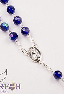 Catholic-Blue-Rosary-Crystal-Beads-Necklace-Holy-Mary-Crucifix-Jerusalem-0-2