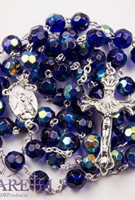 Catholic-Blue-Rosary-Crystal-Beads-Necklace-Holy-Mary-Crucifix-Jerusalem-0