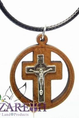 Catholic-Silver-Plated-Cross-Crucifix-Rounded-Necklace-Olive-Wood-Pendant-INRI-0