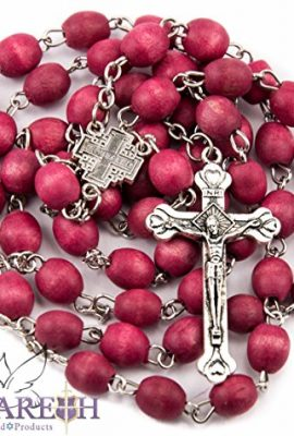 Christian-Rosary-Beads-Catholic-Necklace-prayer-cross-Chain-Wooden-Men-Holy-Land-Red-0-0