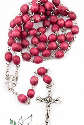Christian-Rosary-Beads-Catholic-Necklace-prayer-cross-Chain-Wooden-Men-Holy-Land-Red-0-1