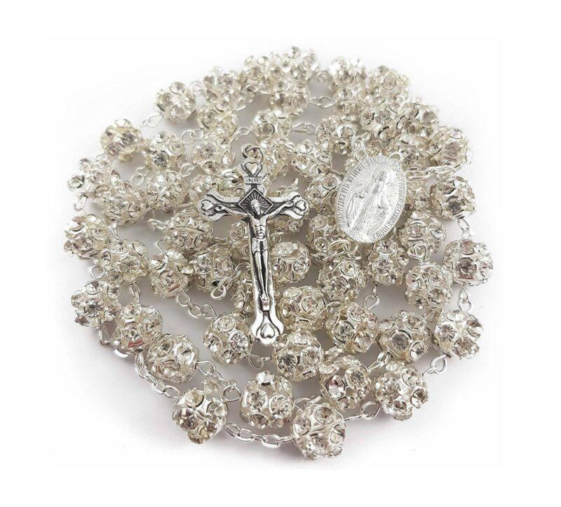 Clear Zircon Beads Rosary Catholic Necklace