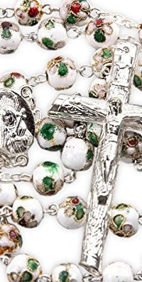 Cloisonne-Rose-Rosary-Bracelet-Set-White-Beads-Madonna-Medal-Cross-Jerusalem-0-0