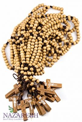 Dozen-12pcs-Authentic-Wooden-Beads-Jesus-Rosaries-Handmade-Nazareth-Holy-Land-0